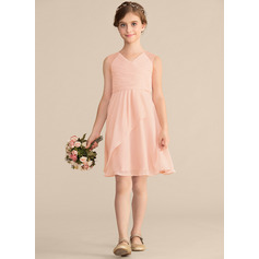 A-Line V-neck Knee-Length Chiffon Lace Junior Bridesmaid Dress With Cascading Ruffles