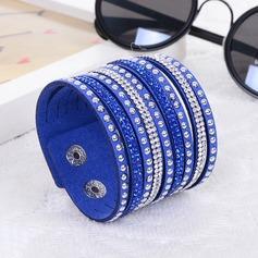 Härlig Konstläder med Strass Kvinnor Mode Armband (Säljs i ett enda stycke)