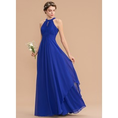 A-Line Scoop Neck Floor-Length Chiffon Bridesmaid Dress With Ruffle (007176779)