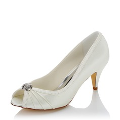 Women's Sparkling Glitter Fabric Cone Heel Peep Toe With Imitation Pearl (047132880)