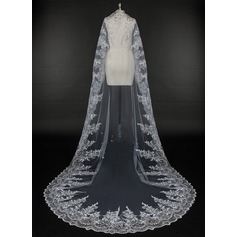 One-tier Lace Applique Edge Cathedral Bridal Veils With Applique (006115476)
