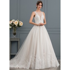 Ball-Gown/Princess Illusion Court Train Tulle Lace Wedding Dress With Beading Sequins