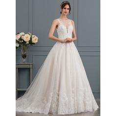 Balklänning Rund-urringning Court släp Tyll Spets Bröllopsklänning med Beading Paljetter