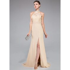 Trumpet/Mermaid High Neck Sweep Train Chiffon Lace Evening Dress With Ruffle Beading Sequins Split Front (017050424)
