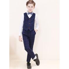 Muchachos 4 piezas Tela Escocesa Trajes para el portador del anillo /Page Trajes De Niño con Camisa Chaleco Pantalones Corbata de moño