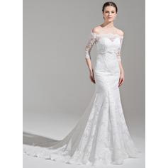 Trumpet/Sjöjungfru Älskling Court släp Spets Bröllopsklänning