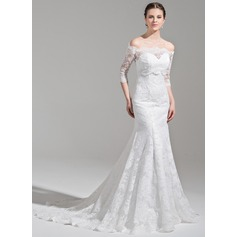 Trompete/Sereia Amada Cauda de sereia Renda Vestido de noiva