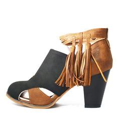 Femmes Suède Talon bottier Escarpins Bottines avec Bowknot Tassel chaussures