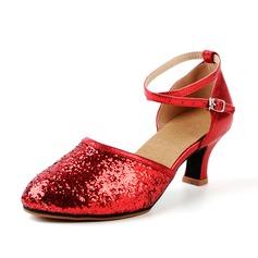 Kvinder Kunstlæder Mousserende Glitter Hæle sandaler Bal Swing med Spænde Udhul Dansesko