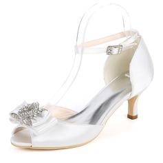 Women's Silk Like Satin Stiletto Heel Peep Toe Pumps With Buckle Rhinestone (047182273)