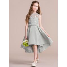 A-Linie U-Ausschnitt Asymmetrisch Satin Kleider für junge Brautjungfern