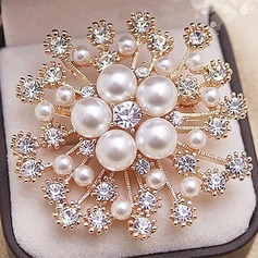 Le plus chaud Alliage/Strass/De faux pearl avec Strass Dames Broche