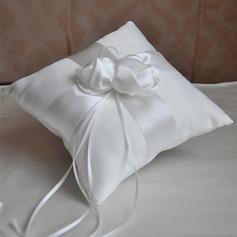 Einfache Ring Kissen in Satin/Polyester mit Blumen