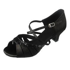 Mulheres Cetim Espumante Glitter Saltos Sandálias Latino com Correia de Calcanhar Sapatos de dança