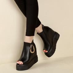 Femmes Similicuir Chaussures plates À bout ouvert avec Zip Autres chaussures