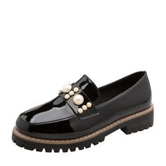 Women's Patent Leather Low Heel Flats Closed Toe With Imitation Pearl shoes