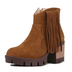 Women's Suede Chunky Heel Pumps Closed Toe Boots Ankle Boots Mid-Calf Boots With Zipper Tassel shoes