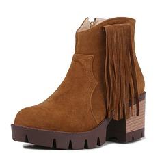 Donna Camoscio Tacco spesso Stiletto Punta chiusa Stivali Stivali alla caviglia Stivali altezza media con Cerniera Nappa scarpe