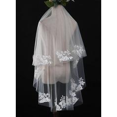 Einschichtig Schnittkante Walzer Braut Schleier mit Spitze