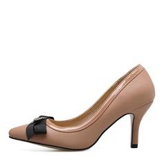 Frauen PVC Stöckel Absatz Absatzschuhe mit Bowknot Schuhe