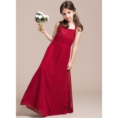 A-Line Square Neckline Floor-Length Chiffon Lace Junior Bridesmaid Dress With Ruffle