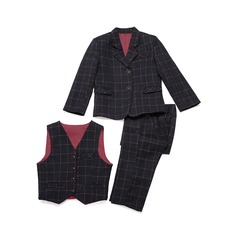 gutter 3 stykker Plaid Suits til ringbærere /Side Boy Suits med Jakke vest Bukser (287199751)