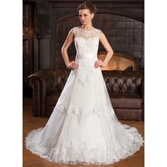 A-linjeformat Rund-urringning Chapel släp Tyll Spetsar Bröllopsklänning med Pärlbrodering Paljetter Rosett/-er