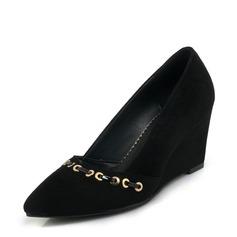 Frauen Veloursleder Keil Absatz Absatzschuhe Geschlossene Zehe Keile mit Niete Schuhe