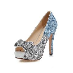 Vrouwen Sprankelende Glitter Stiletto Heel Peep Toe Plateau met strik