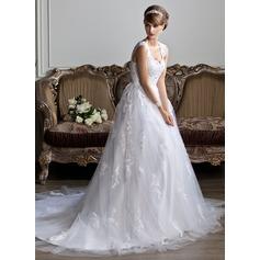 Corte de baile Escote en V Cola capilla Tul Vestido de novia con Bordado Los appliques Encaje