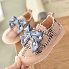 Pigens Round Toe Lukket Tå Leatherette Flad Hæl Fladsko Sneakers & Atletik Flower Girl Shoes med Bowknot Velcro