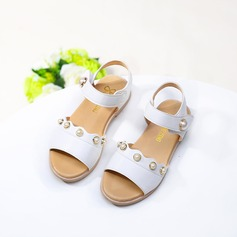 Girl's Leatherette Flat Heel Peep Toe Sandals With Imitation Pearl Velcro