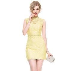 Платье-чехол Высокая шея Мини-платье Кружева Коктейльные Платье с развальцовка блестки