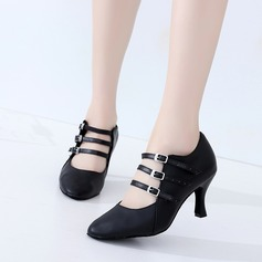 Women's Real Leather Heels Ballroom Swing Character Shoes Dance Shoes