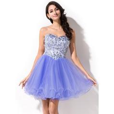 Vestidos princesa/ Formato A Amada Curto/Mini Tule Vestido de baile com Beading