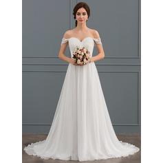 A-Line/Princess Off-the-Shoulder Sweep Train Chiffon Lace Wedding Dress With Ruffle