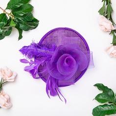 Dames Beau/Élégante Coton avec Feather/Fleur en soie/Tulle Chapeaux de type fascinator/Kentucky Derby Des Chapeaux/Chapeaux Tea Party