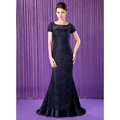Trumpet/Mermaid Scoop Neck Sweep Train Lace Mother of the Bride Dress With Beading Sequins