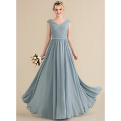 A-Line/Princess V-neck Floor-Length Chiffon Bridesmaid Dress With Ruffle (007144777)