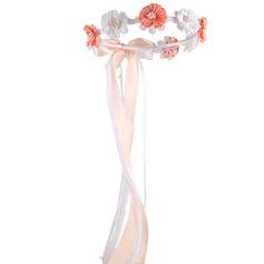 Satin/Blonder med Imiteret Pearl/Blomst Flower Headband