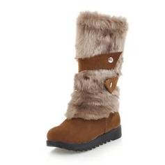 Vrouwen Suede Flat Heel Plateau Laarzen Half-Kuit Laarzen Snowboots met Gesp schoenen