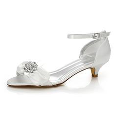 Femmes Satiné Talon bas Sandales Chaussures qu'on peut teindre avec Bowknot Strass