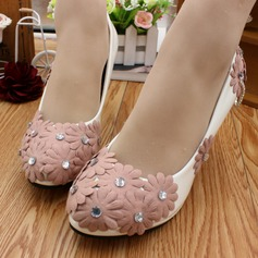 Women's Lace Leatherette Stiletto Heel Closed Toe Pumps With Rhinestone Flower Chain