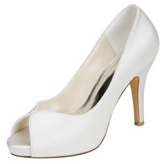 Women's Silk Like Satin Stiletto Heel Pumps With Others (047114307)