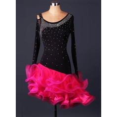 Women's Dancewear Spandex Organza Latin Dance Leotards (115086056)