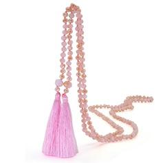 Härlig Kristall Silke med Tofsar Kvinnor Mode Halsband