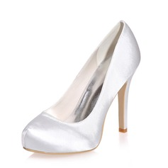 Women's Satin Stiletto Heel Closed Toe Pumps (047075214)