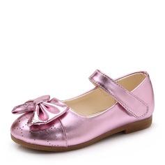Mädchens Geschlossene Zehe Leder Flache Ferse Flache Schuhe Blumenmädchen Schuhe mit Bowknot Klettverschluss