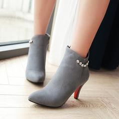 Kvinnor Mocka Stilettklack Pumps Stövlar Boots med Strass Zipper skor