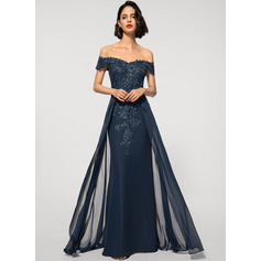 Sheath/Column Off-the-Shoulder Floor-Length Chiffon Evening Dress With Sequins (017209171)